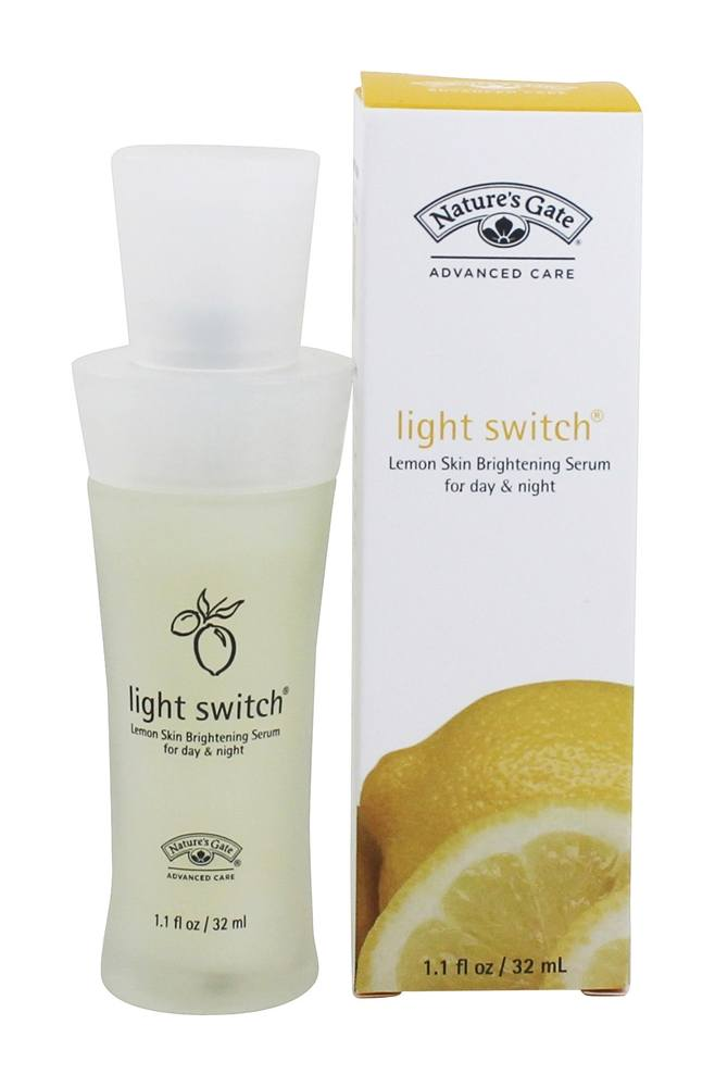Light Switch (Lemon Skin Brightening Serum) Natures Gate 1.1 oz Lotion 4 Pack - Dickinsons Original Witch Hazel De-Puffing Eye Gel 0.5 oz