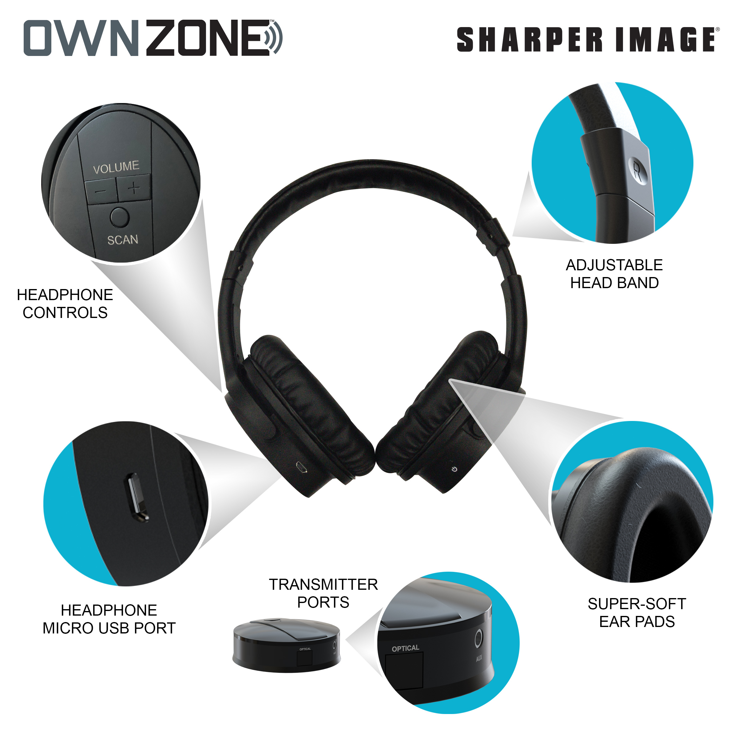 Own Zone Wireless Tv Headphones By Sharper Image Walmartcom