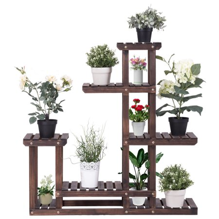 Costway Outdoor Wooden Plant Flower Display Stand 6 Wood Shelf Storage Rack Garden