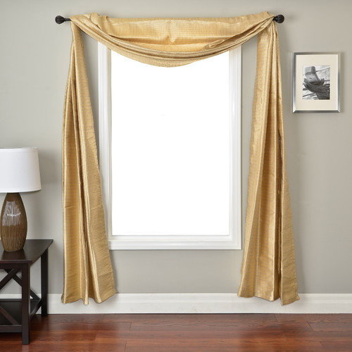 Softline Home Fashions Ariel Circle Window Scarf in Soft Gold