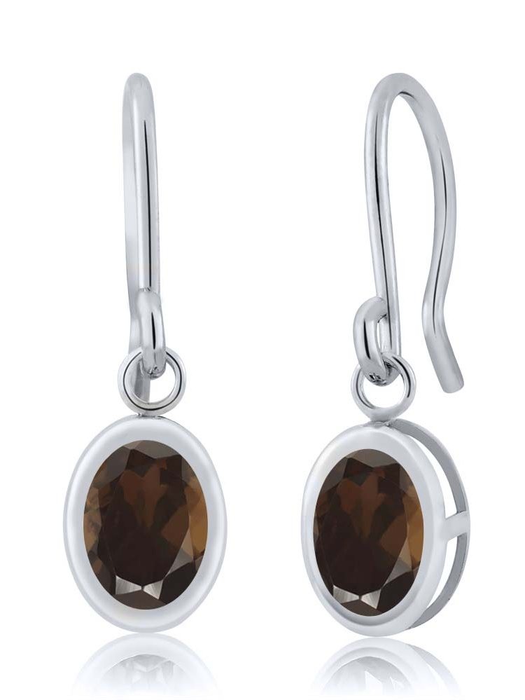 1.50 Ct Oval Brown Smoky Quartz 925 Silver French Wire Women's Dangling Earrings