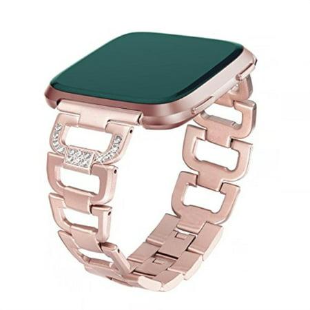 0eceb1735 Ayeger Band Compatible Fitbit Versa Watch, Women Men Luxury Stainless Steel  Metal Bracelet Adjustable Replacement
