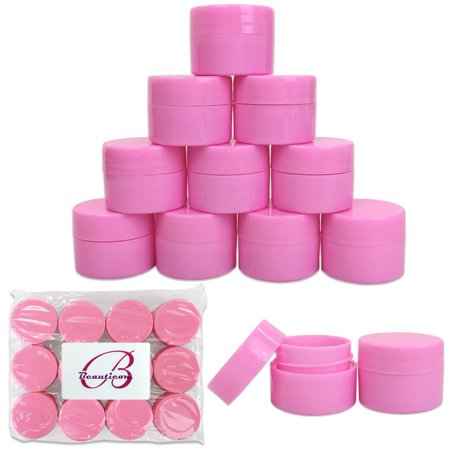 Beauticom 12 Pieces High Quality 7 Gram 7 ml (0.25 oz) Plastic Pink Round Lotion, Cream, and Skin Care Sample Travel Jars with Lined Lids Plastic Sample Jars