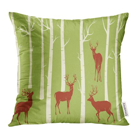 ARHOME Green Tree Deers Change The Color is One Click of Mouse Birch Pillow Case 18x18 Inches Pillowcase