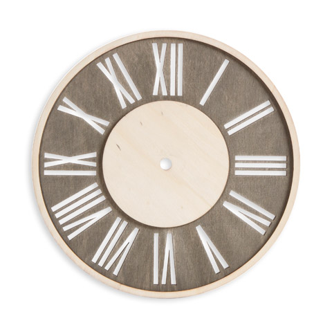 Roman Numeral Clock Face: Distressed Wood, Round, 9 inches