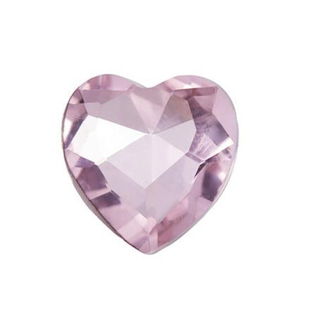 5pcs Embellishment Rhinestone, Rose Pink Heart Foil Back Crystal 14x14mm