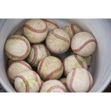 Canvas Print Seams Game Leather Bucket Baseballs Sewn Sport Stretched  Canvas 10 x 14