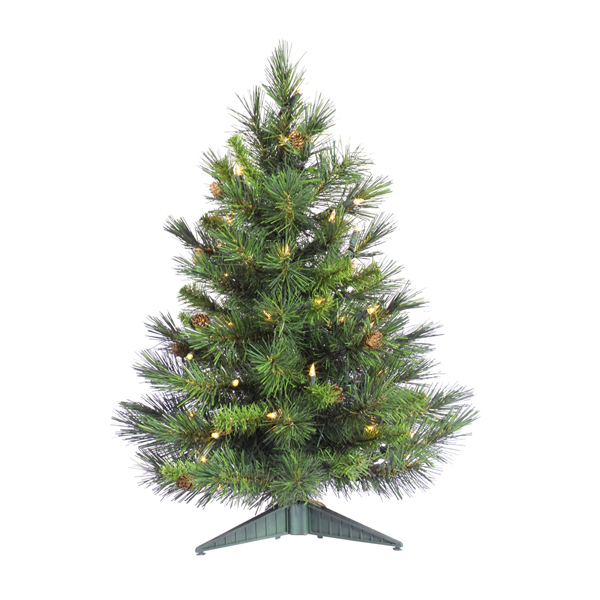 3' Pre-Lit Cheyenne Pine Artificial Christmas Tree with Pine Cones- Clear Lights