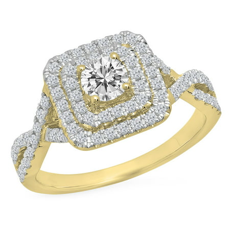 Dazzlingrock Collection 0.85 Carat (ctw) 14K Round White Diamond Ladies Swirl Bridal Halo Engagement Ring, Yellow Gold, Size 8.5