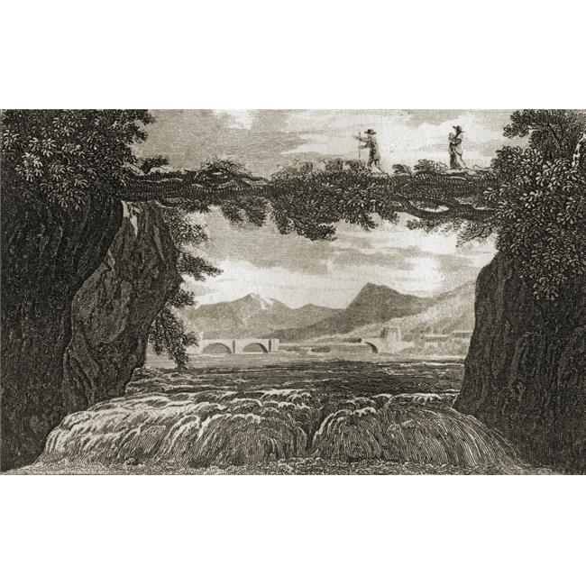 Subterranean Disappearance of The Rhone, Near Geneva Engraved by Hay After Craig From The Book The Gallery of Nature & Art Volume II Published London C.1823 Poster Print, 19 x 12 - image 1 de 1