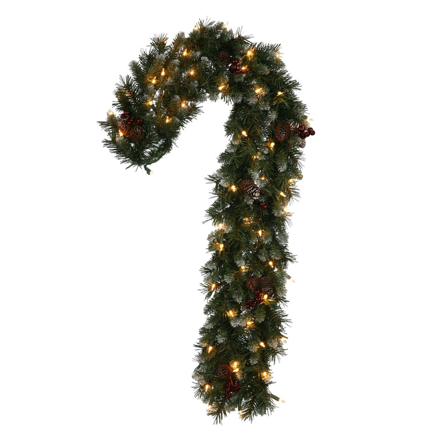 """Vickerman 40"""" Prelit Frosted Ashberry Pine Candy Cane Christmas Wreath - Clear Lights"""