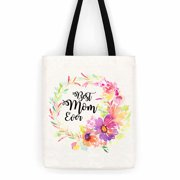 Best Mom Ever Floral Cotton Canvas Tote Bag Day Trip Bag Carry All