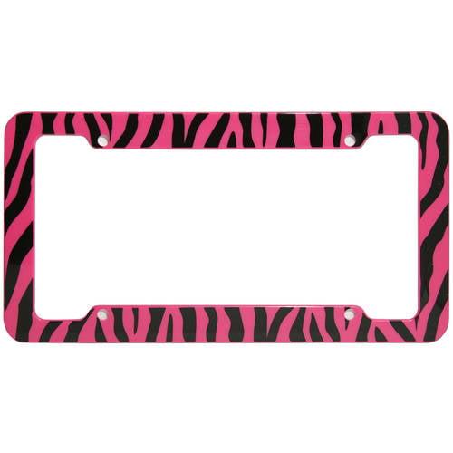 OxGord 1-Piece Plastic License Plate Frame with Zebra/Tiger Stripes