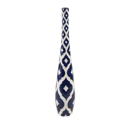 Maine Blue and White Skinny Vase