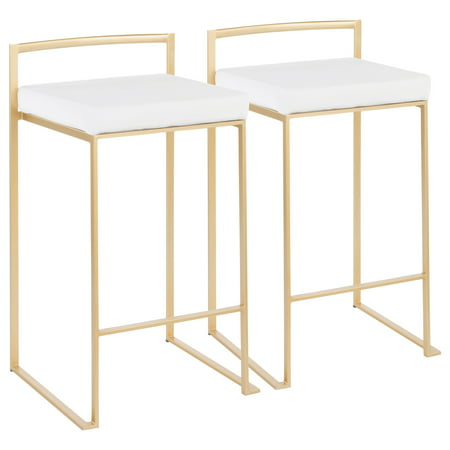 Fuji Contemporary Stackable Counter Stool in Gold with White Velvet Cushion by LumiSource - Set of