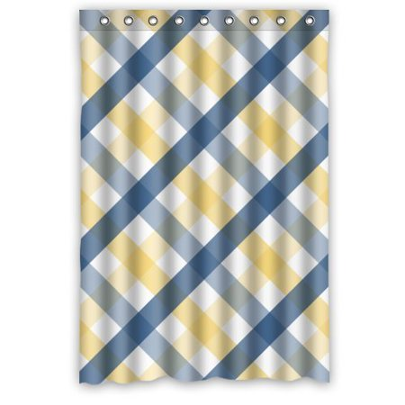 GreenDecor Grace England Style Elegant Blue Yellow Stripes Cross Waterproof Shower Curtain Set with Hooks Bathroom Accessories Size 48x72 - Grace Stripe