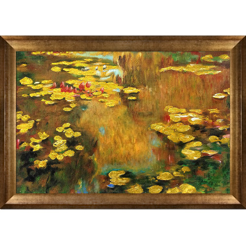 La Pastiche 'Water Lilies' by Claude Monet Framed Oil Painting Print on Wrapped Canvas in Antique Gold