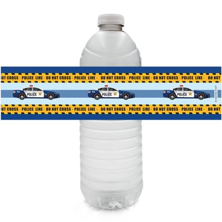 Police Party Water Bottle Labels 24ct - Kids Police Themed Birthday Party Favor Supplies - 24 Count Sticker Labels 24 Count: WATERPROOF Police Party Water Bottle Labels to use as part of your Police Birthday Party Supplies. (Water bottles not included).3 sticker sheets included - total of 24 sticker labels. Labels wrap around most standard size water bottles, 8.5in x 2in - water bottles NOT included. Use to make police officer birthday party favors as part of your police theme party decorations.  Designs are laser printed on these labels - no ink smudging, no mess. Labels are easy to peel from sticker sheet - high quality. Unique DISTINCTIVS police party supplies design. Featuring blue and yellow police theme party supplies designs. Great for a kids police theme birthday party to make favors for guests. WATERPROOF - chill in ice or fridge before your police theme party without any damage to the labels. Water bottles NOT included. Use these WATERPROOF water bottle label stickers at your upcoming kids police officer birthday party to help celebrate the special birthday guest of honor in true police hero style, while also keeping birthday party guests hydrated. The police car theme design is perfect to match with your police birthday party decorations. Kids birthdays are a big deal, but making party favors doesnt have to be. All you have to do is peel these labels from their sticker sheet and stick them around dry, room temperature water bottles - then throw them in the fridge or some ice to cool off the water before your guests arrive. The labels wont get messed up in water or ice because they are printed on a high quality, waterproof sticker material. Use DISTINCTIVS uniquely designed water bottle labels to help make your policeman birthday party memorable.
