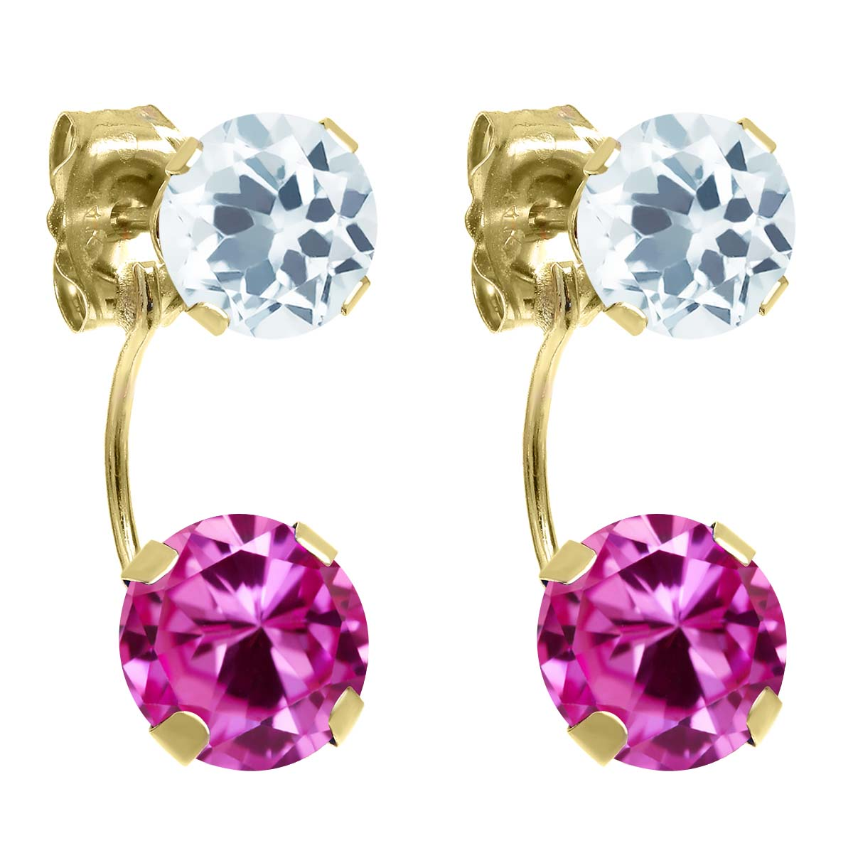 2.90 Ct Round Pink Created Sapphire Sky Blue Aquamarine 14K Yellow Gold Earrings by