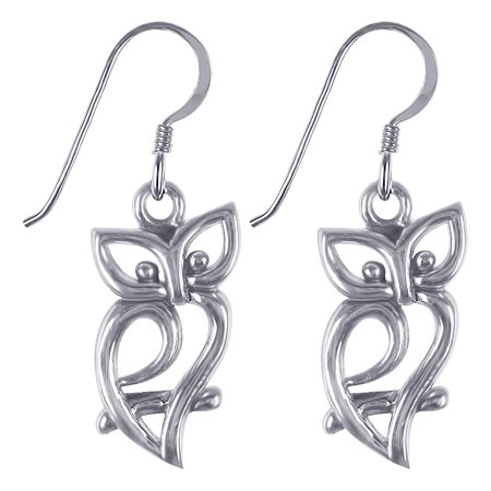 Gem Avenue 925 Sterling Silver Owl Silhouette French Hook Dangle