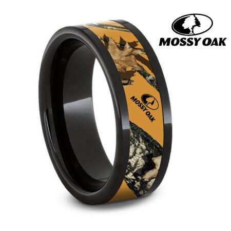 Authentic Mossy Oak Blaze Camo Ring, Black Ceramic Weddin...