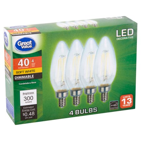 Great Value LED Decorative 4 Watts Soft White Candelabra Base Bulbs, 4 count
