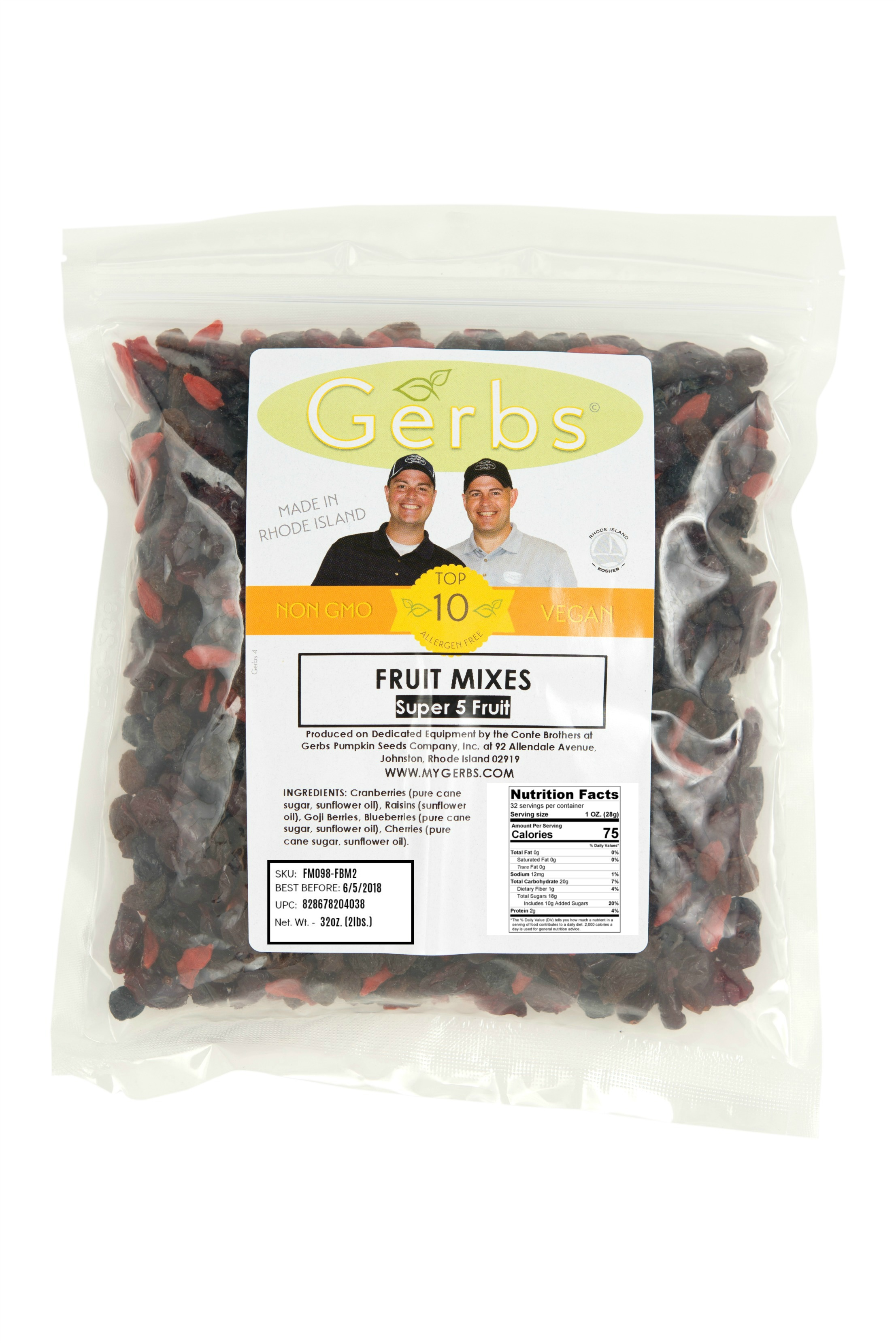 Dried Cranberries, Blueberries, Cherries, Goji Berry, & Raisin Fruit Mix by Gerbs 2 LBS... by Gerbs Allergen Friendly Foods