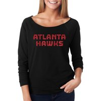 Atlanta Hawks Off the Shoulder Long Sleeve Pullover Fleece - Black