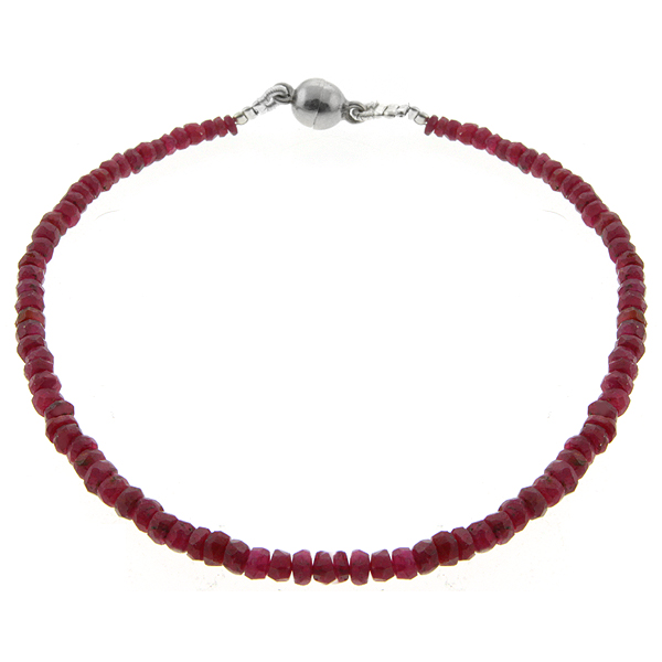 "25.00 Ct 8"" Genuine Ruby Beads Bracelet with Silver Magnetic Clasp"