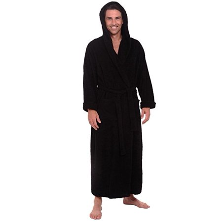 2664a35308fcb Spa & Resort - Heavy Mens 3.5lb Black Hooded Terry Cloth Bathrobe. XXL Full  Length 100% Turkish Cotton - Walmart.com