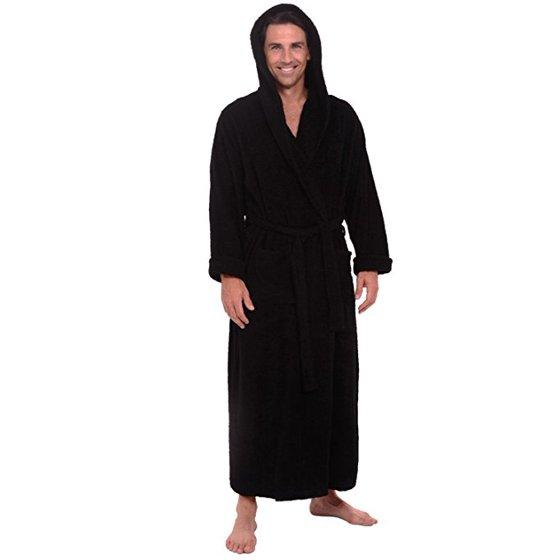 Spa   Resort - Heavy Mens 3.5lb Black Hooded Terry Cloth Bathrobe. XXL Full  Length 100% Turkish Cotton - Walmart.com 1d0956f8e