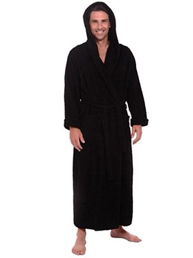 a1b4a64a3a Product Image Heavy Mens 3.5lb Black Hooded Terry Cloth Bathrobe. XXL Full  Length 100% Turkish