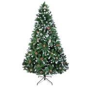 Ktaxon Artificial Christmas Tree 7 Foot Flocked Snow Trees Pine Cone Decoration Unlit(7 Foot Upgrade)