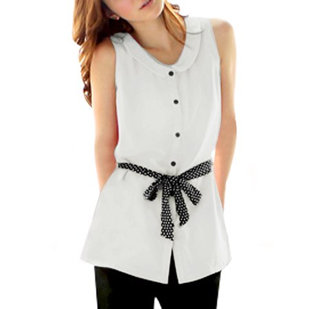Unique Bargains Women's Sleeveless Button Down Belted Blouse