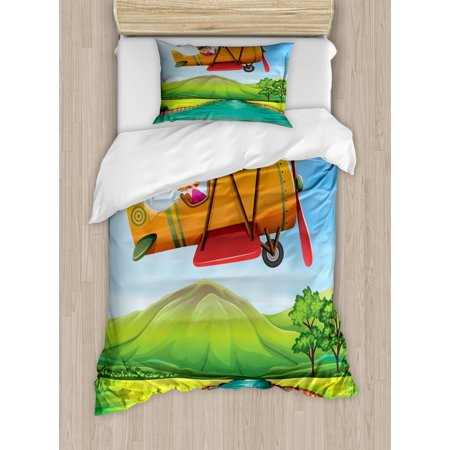 Nursery Airplane Twin Size Duvet Cover Set, Child Girl Flying Biplane over the River Green Field with Hills and Trees, Decorative 2 Piece Bedding Set with 1 Pillow Sham, Multicolor, by (One Tree Hill River Court Pieces For Sale)