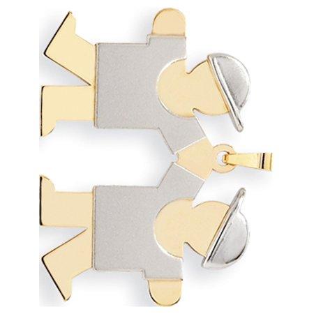 Leslies Fine Jewelry Designer 14k Two-Tone Gold Two-Tone Large Double Boys Engravable (35x25mm) Pendant -