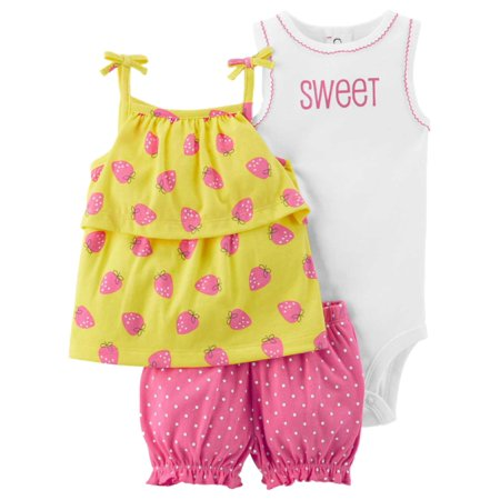 Carters Infant Girls Sweet Strawberry Baby Outfit Bodysuit Shirt & Shorts - Strawberry Shortcake Outfits