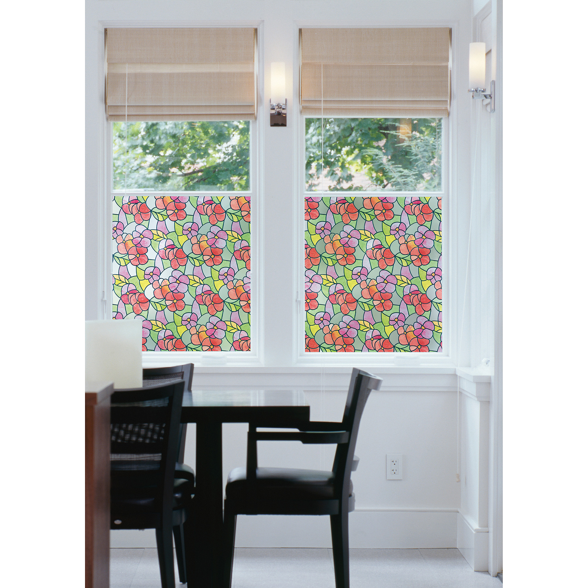 Brewster Pansies Red Static Cling Window Film