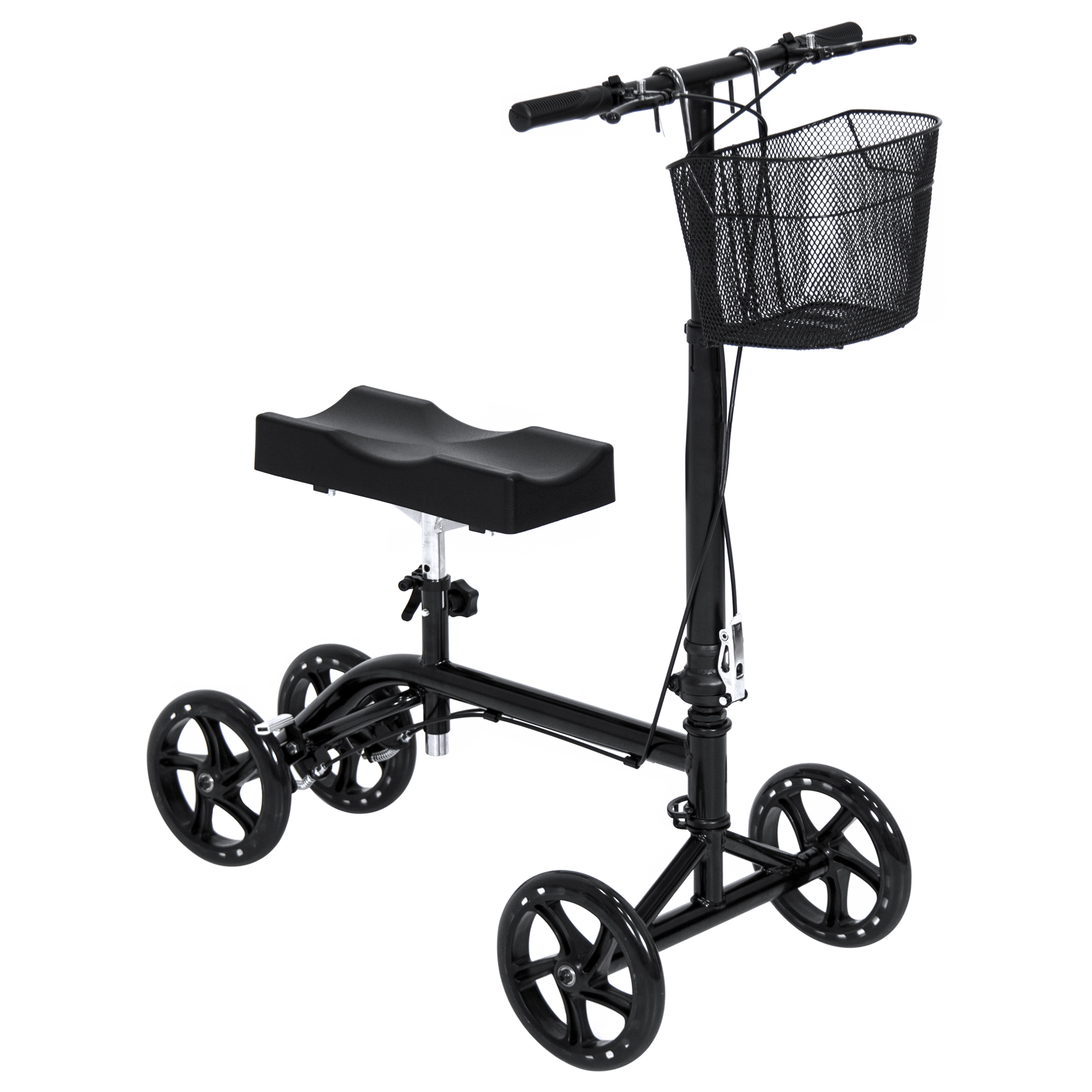 Skytel Best Choice Products Steerable Folding Medical Knee Walker Scooter Leg Crutch w/ Basket and Brake System - Black