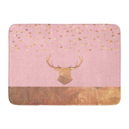 KDAGR Pink Christmas Rose Gold Confetti Stag Copper Old Antique Antlers Doormat Floor Rug Bath Mat 23.6x15.7 inch ()