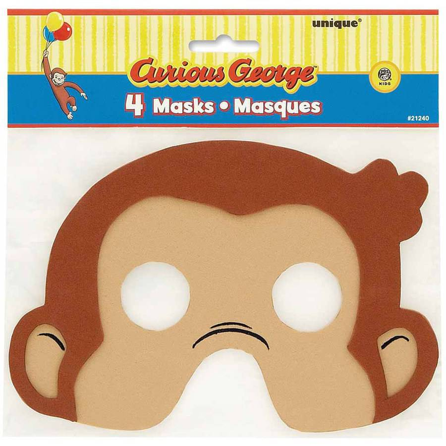 Curious George Foam Masks, 4pk