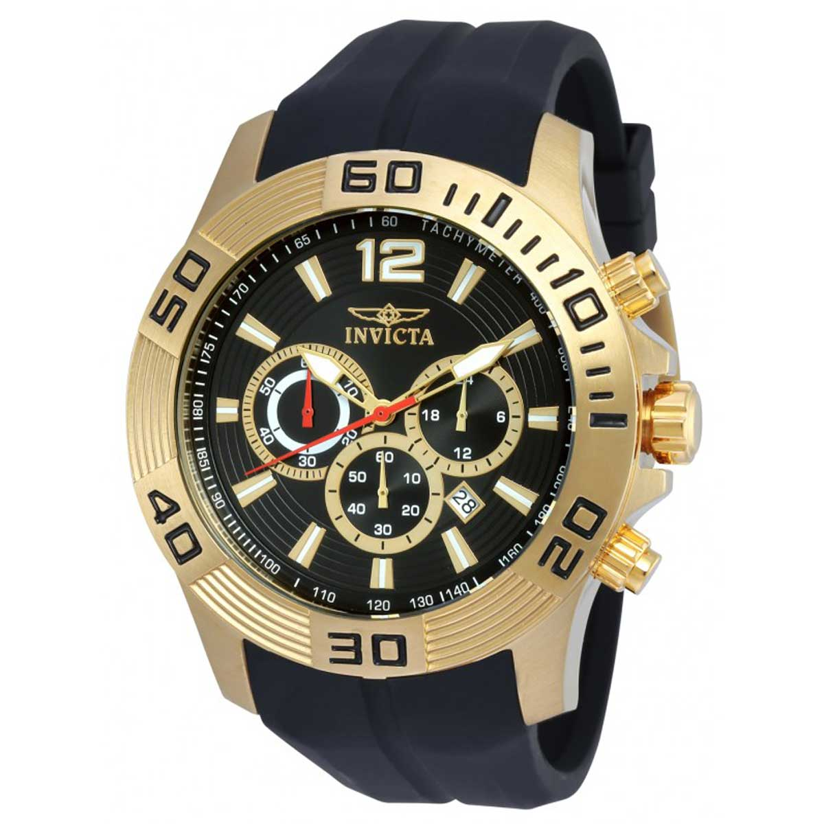 Invicta Pro Diver Chronograph Black Dial Black Silicone Mens Watch 20300
