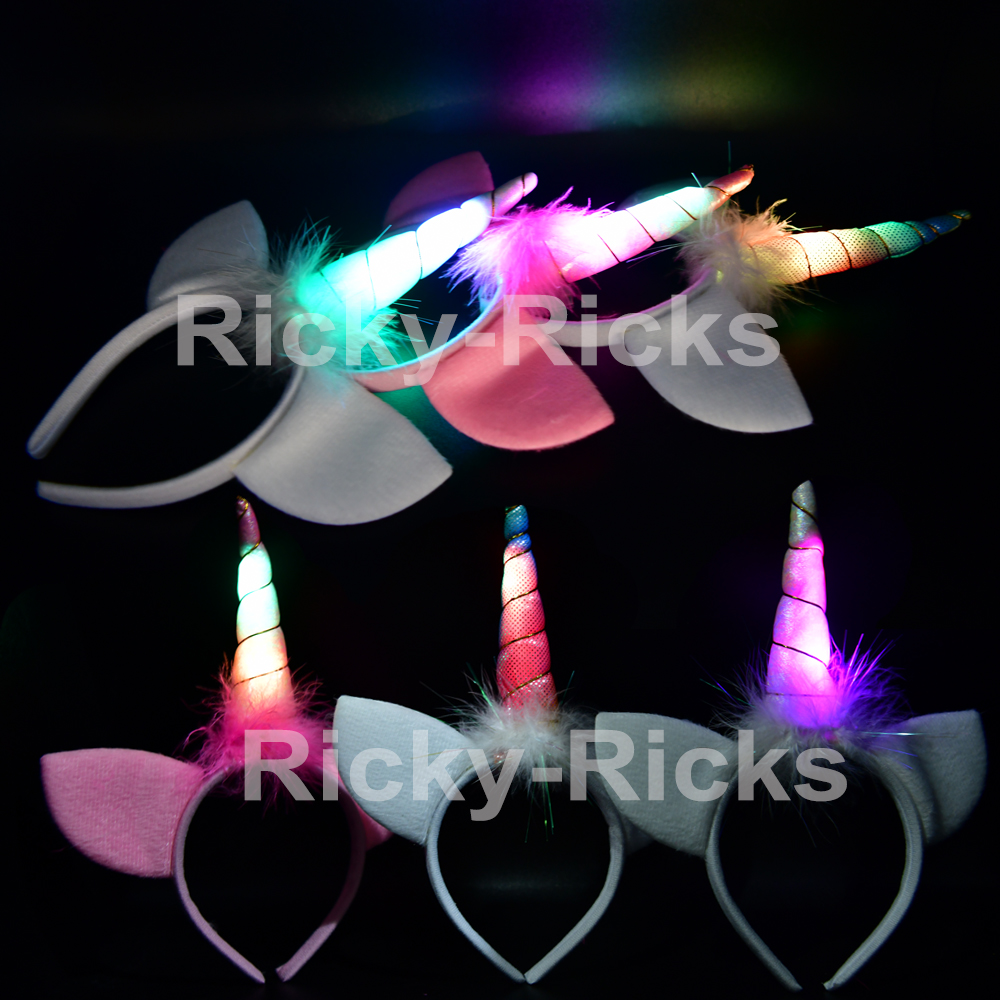 Light Up Unicorn Headbands Flashing Ears Costume Horn Kids Magical Party Hair (12 Pack)