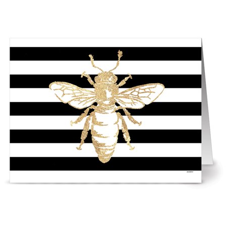 - 24 Note Cards - Bold Bee Queen - Blank Cards - Kraft Envelopes Included