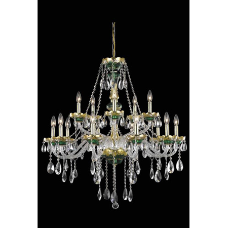 - Pendants Porch 15 Light With Clear Crystal Royal Cut Green size 35 in 900 Watts - World of Classic