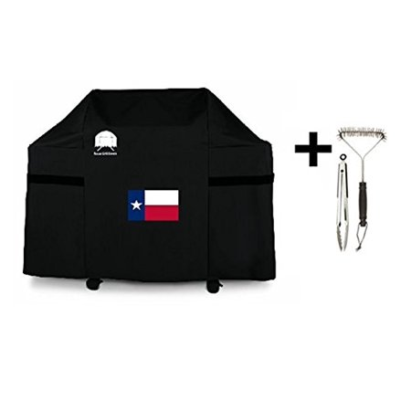 Texas Flag Cover (7553 ZCD   7107 Premium Cover for Weber Genesis E and S Series Gas Grills with USA Flag Design Including Brush and Tongs (With Texas State Flag))
