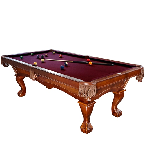 Brunswick Danbury 8 Foot Pool Table with Merlot Contender Cloth and Play Kit