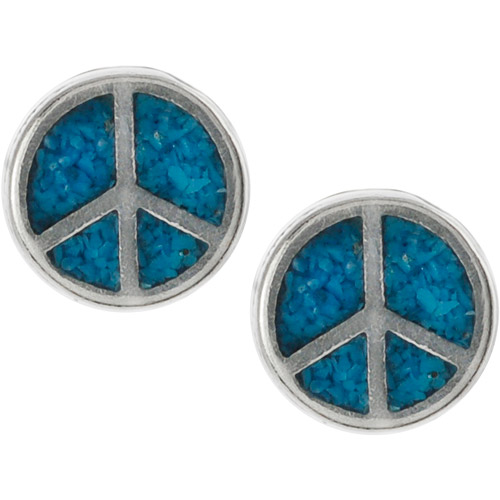 Brinley Co. Genuine Turquoise Sterling Silver Peace Sign Stud Earrings