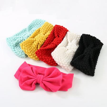 Micelec Baby Kid Girl Sweet Cute Bowknot Knit Crochet Headband Hair Band Wrap Headwear