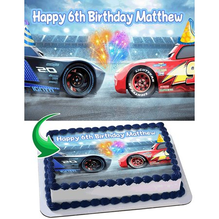 Lightning MCqueen Cars 3 Disney Pixar Birthday Cake Personalized Toppers Edible Frosting Photo Icing Sugar Paper A4 Sheet 1 4